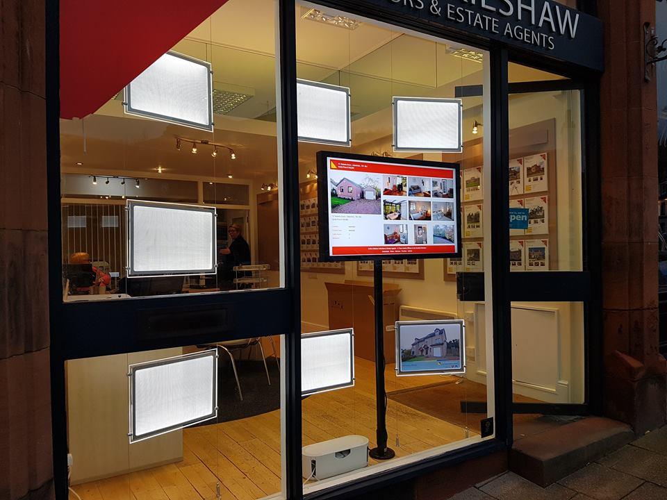 LED Light Pockets & High Brightness Networked Screens, Borders, Scotland, estate agents window displays