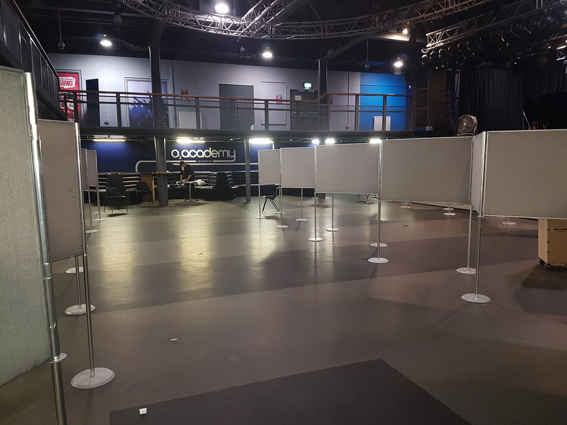 Poster Board Hire, O2 Academy, Leicester University, panel room dividers for displaying posters